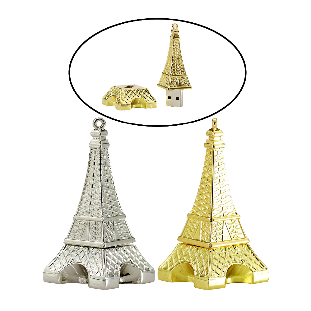 New Real Capacity Usb Drive The Eiffel Tower Shape 2gb 4gb 8gb Flashdisk Hp Flash Memory Thumb Pendrives U Disk Stick Cool Gift