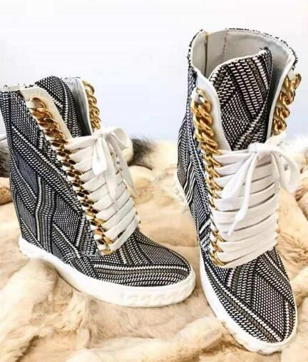 Moraima Snc Geometric Zipper Printing Women Fashion Lace Up Casual Shoes New Style Ladies Increased Heel Ankle BootsMoraima Snc Geometric Zipper Printing Women Fashion Lace Up Casual Shoes New Style Ladies Increased Heel Ankle Boots