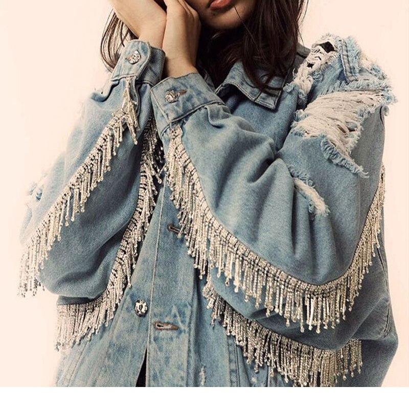 Women's Fashion Denim Jacket Heavy Industry Hole Breaking Spring Jeans Jacket Loose Coat with Long Outerwear Em Jacket For Women