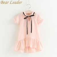 Bear Leader Girls Dress 2017 New Summer Children Clothing Cotton Dress Casual Style Princess Mermaid Dress Ribbon Pink Dress