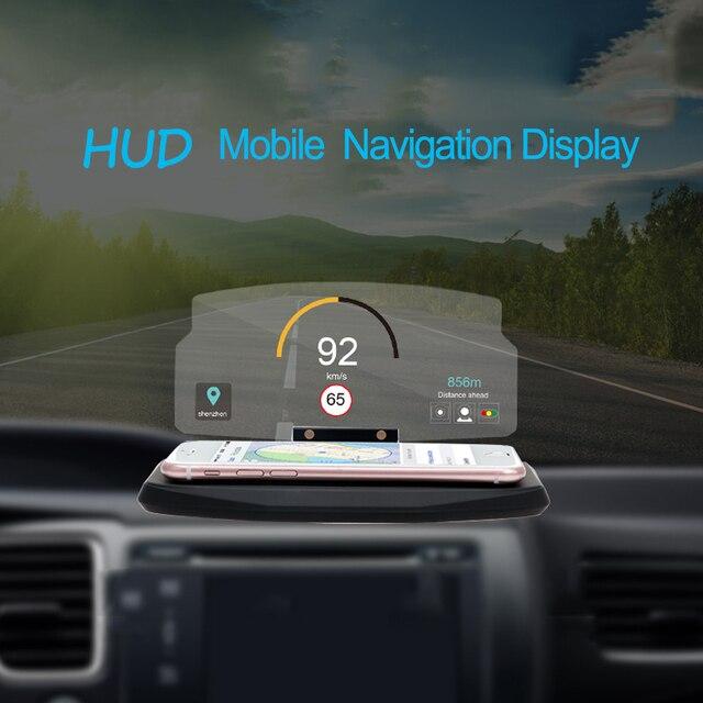 hud head up display car windscreen projector 6 5 inch mobile phone holder universal for iphone. Black Bedroom Furniture Sets. Home Design Ideas
