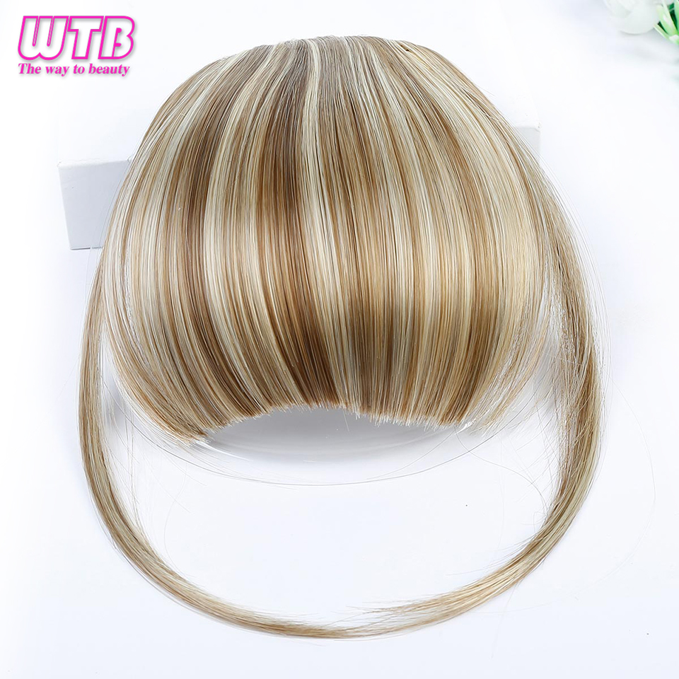 WTB Brown Red Black Short Fake Hair Bangs Heat Resistant Synthetic Clip In Hair Extensions For Women Hair HairStyles