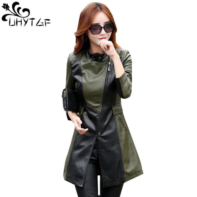 UHYTGF Women Long Leather Jacket Fashion Lady Elegant Washed splice PU Leather Coat Windbreaker Women Outerwear 5XLPlus Size 964