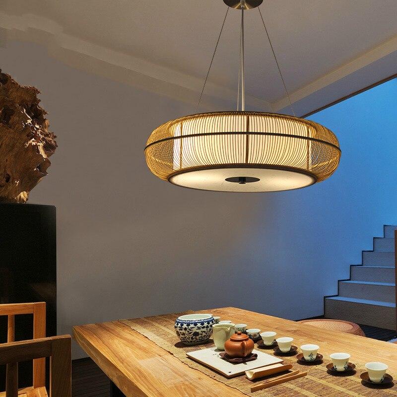 New Chinese Zen Chandelier Lights Japanese Bamboo Tea Room Hanglamp Lights Restaurant Bedroom Living Room Pendant Led Lighting