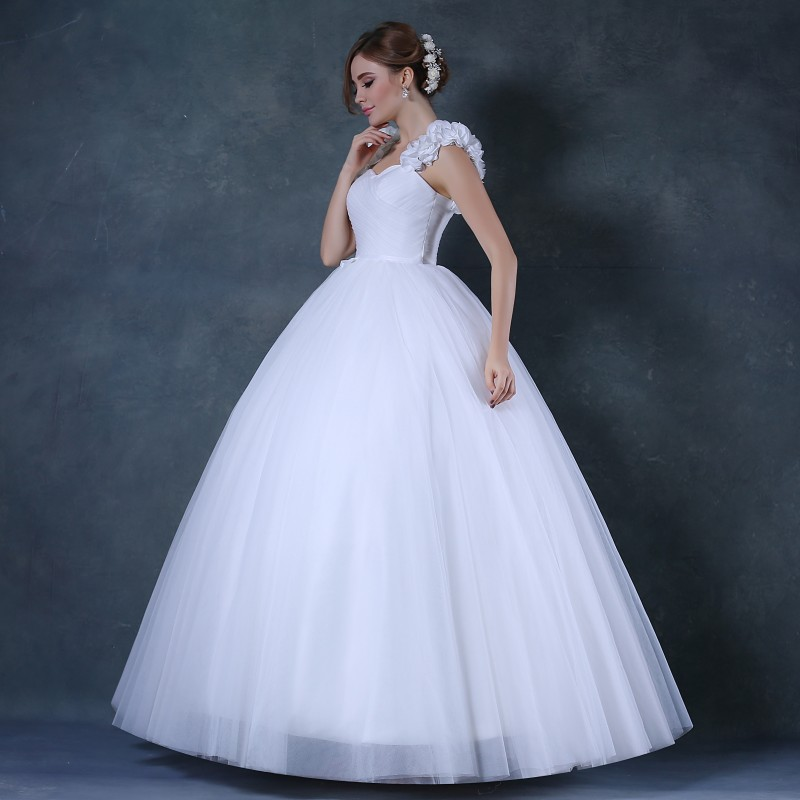 Elegant Tulle Wedding Dresses China Pleats Floor Length Simple ...