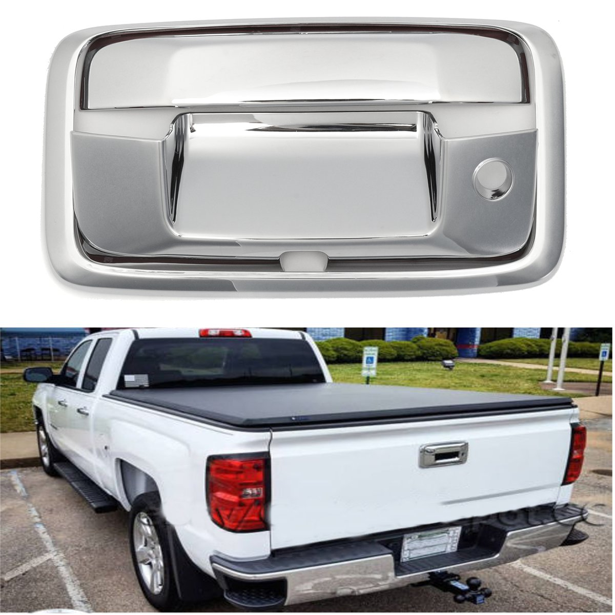 medium resolution of chrome tailgate handle cover for chevrolet 2015 2016 2017 silverado for gmc sierra