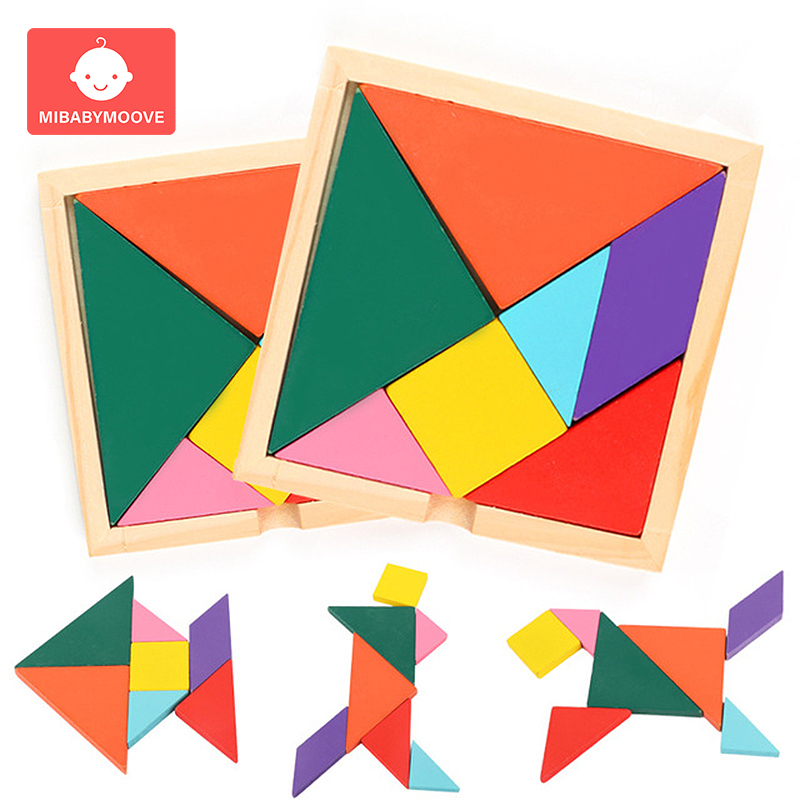 Wooden Tangram Jigsaw Board Colorful Square Kids Educational Toys DIY Puzzle Creative Interactive Learning