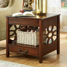 American sofa side small square table solid wood side cabinet European corner simple side coffee table seating corner table fashion simple tempered glass small coffee table phone rack sofa corner table furniture round square square tea table