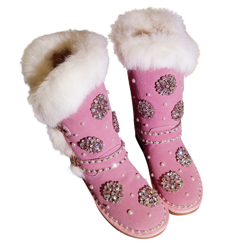 Rabbit Fur Snow Boots Women Handmade Crystals Pearls Platform Wedge Knee High Boots 2018 Flower Diamonds Plush Warm Winter ShoesRabbit Fur Snow Boots Women Handmade Crystals Pearls Platform Wedge Knee High Boots 2018 Flower Diamonds Plush Warm Winter Shoes