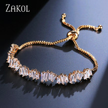 ZAKOL Delicate Sliver Color Girl Adjustable Baguette Bracelet Charms Stacked Cubic Zircon Bracelet For Wedding FSBP139(China)