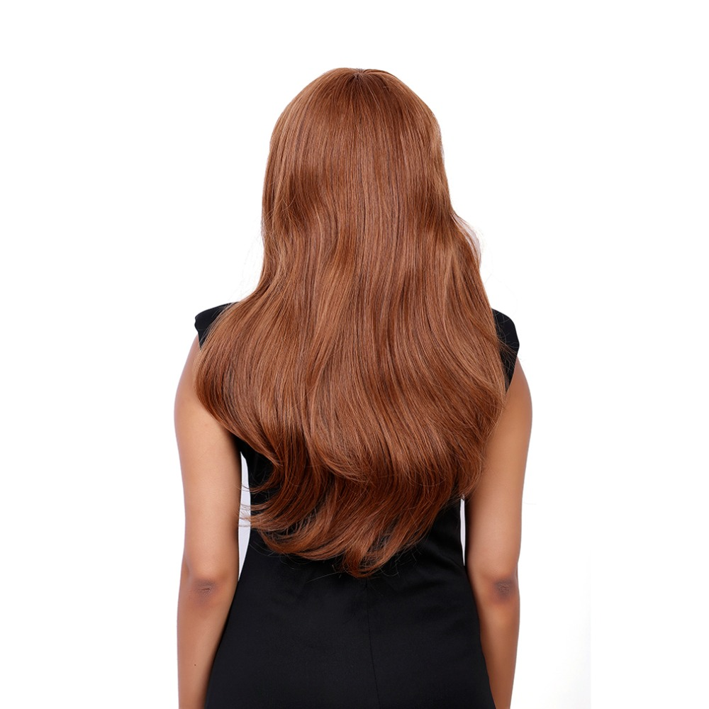 EMMOR Fluffy Wave Long Real Natural Hair Attractive Full Bang Capless Hair Wigs For Women Aubum Brown 60cm