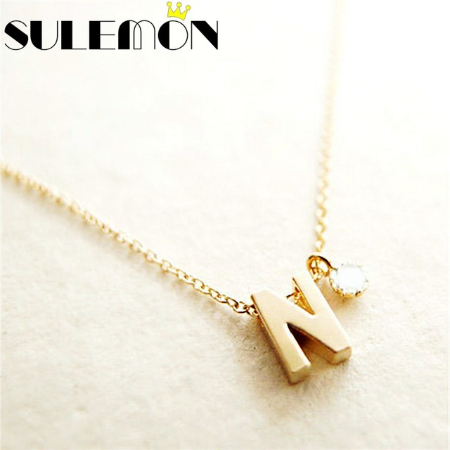 Personalized initial name necklace couple pendant charm jewelry personalized initial name necklace couple pendant charm jewelry for women rhinestone letter gold color chain fashion aloadofball Choice Image