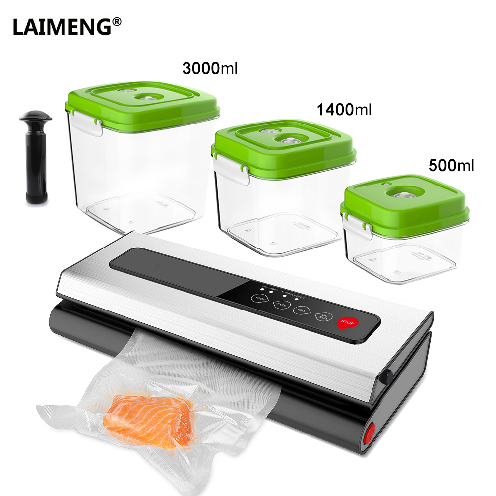 все цены на LAIMENG Vacuum Machine Food Sealer With Food Grade AS Canister Vacuum Bags Packing Food Preservation Packer for Packaging S227 онлайн