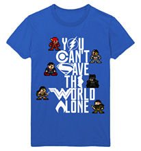 8 BIT JUSTICE LEAGUE OF AMERICA YOU CANT SAVE THE WORLD ALONE UNISEX T-SHIRT New T Shirts Funny Tops Tee Unisex