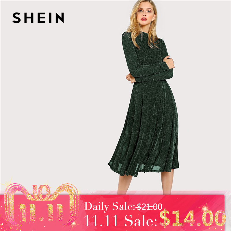 Shein Green Elegant Party Mock Neck Glitter Button Fit And