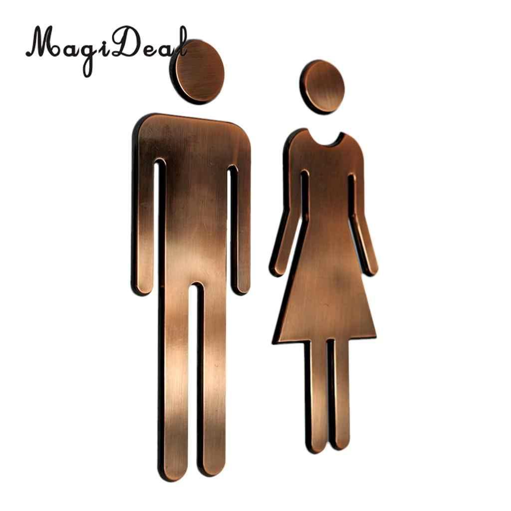 MagiDeal زوج من رجل و امرأة WC الشارات المرحاض ملصقات جدار علامات مرحاض الحمام لافتات البلاك الفضة/الذهب/ الأسود