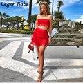 Verão sexy borla bandagem 2 duas peças conjunto de zíperes mulher slash neck sem mangas conjuntos clube curto colheita topo branco vermelho