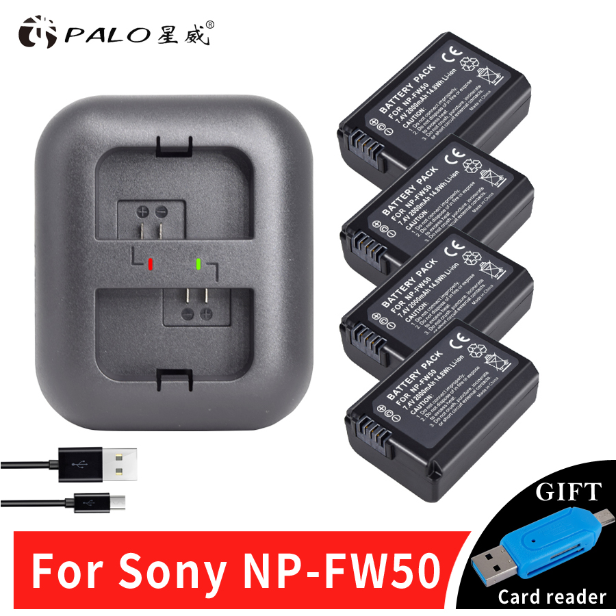 PALO 4x bateria NPFW50 NP-FW50 Camera Battery for SONY NEX 5T 5R 5TL 5N 5C 5CK A7R A7 F3 3N 3CA55 A37 A5000 A6000 A55+a Charger 2x 1500mah np fw50 np fw50 digital camera battery charger for sony alpha 7 a7 7r a7r 7s a7s a3000 a5000 a6000 nex 5n 5c a55