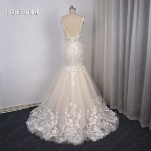 Image 4 - Illusion Top Lace Wedding Dress Mermaid Low Back Sexy Bridal Gown