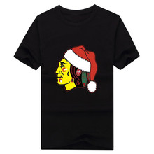 2017 merry Christmas Red Hat Chicago Logo T Shirts For Blackhawks Man font b t shirt