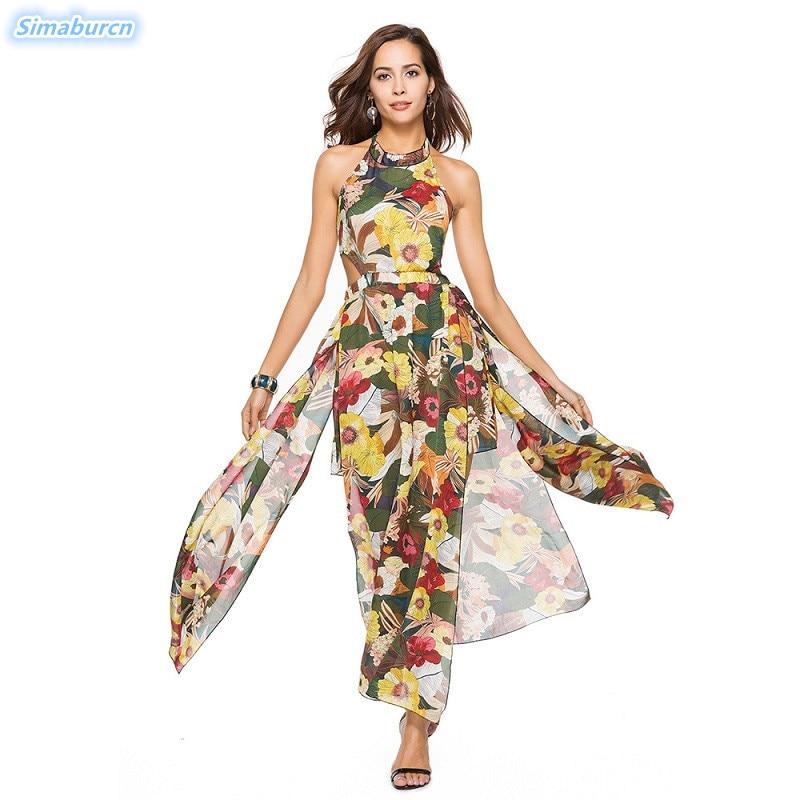 Lace Up Sexy Backless Women Dress Floral Print Summer Chiffon Split Dress Ladies Long Maxi Beach Dresses Halter Vestidos 2019
