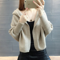 Spring and Autumn 2019 new knit cardigan short paragraph long sleeved Korean version of the fashionable hooded sweater coa