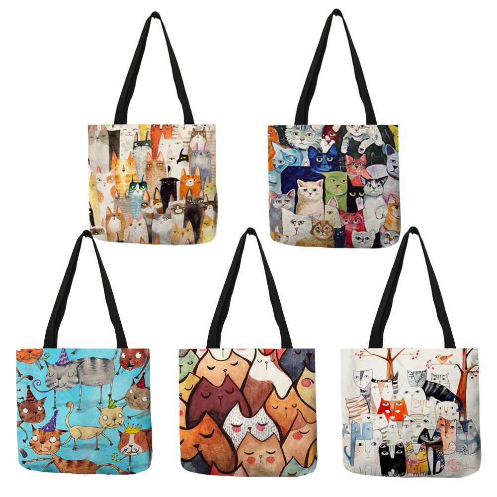 Design Cute Kawaii Cartoon Anime Cat Print Linen Tote Bag Women Fashion Handbags School Travel Shopping Shoulder Bags Reusable