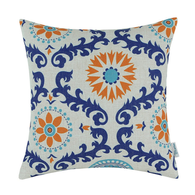 Calitime Decorative Pillows Shell Cushion Cover Home Sofa Cotton Linen Blend Orange Blue Flower 20