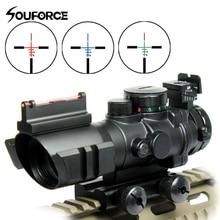 4X32 Tactical Rifle Scope Tri-illuminated Rapid Range + Fiber Optic Sight