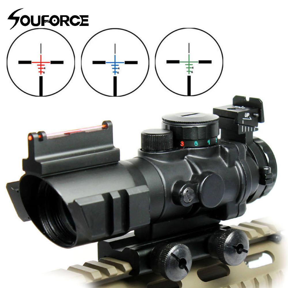 Tactical 4X32 Rifle Scope Tri-illuminated Rapid Range + Fiber Optic Sight