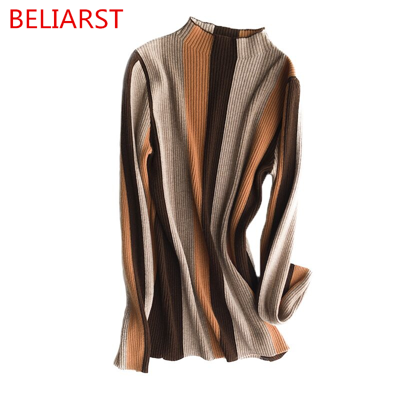 Autumn and Winter New Women Short Section Of the Semi high Collar Long Sleeve Hit Color Stripes Shirt shirt Pullover Sweater