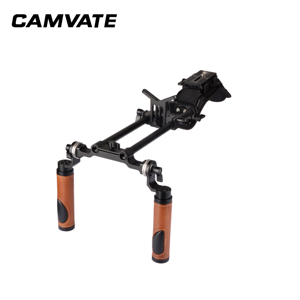 CAMVATE Pro Camcorder Shoulder Rig With Manfrotto QR Base Plate & ARRI Rosette Dual Handgrip  C2064