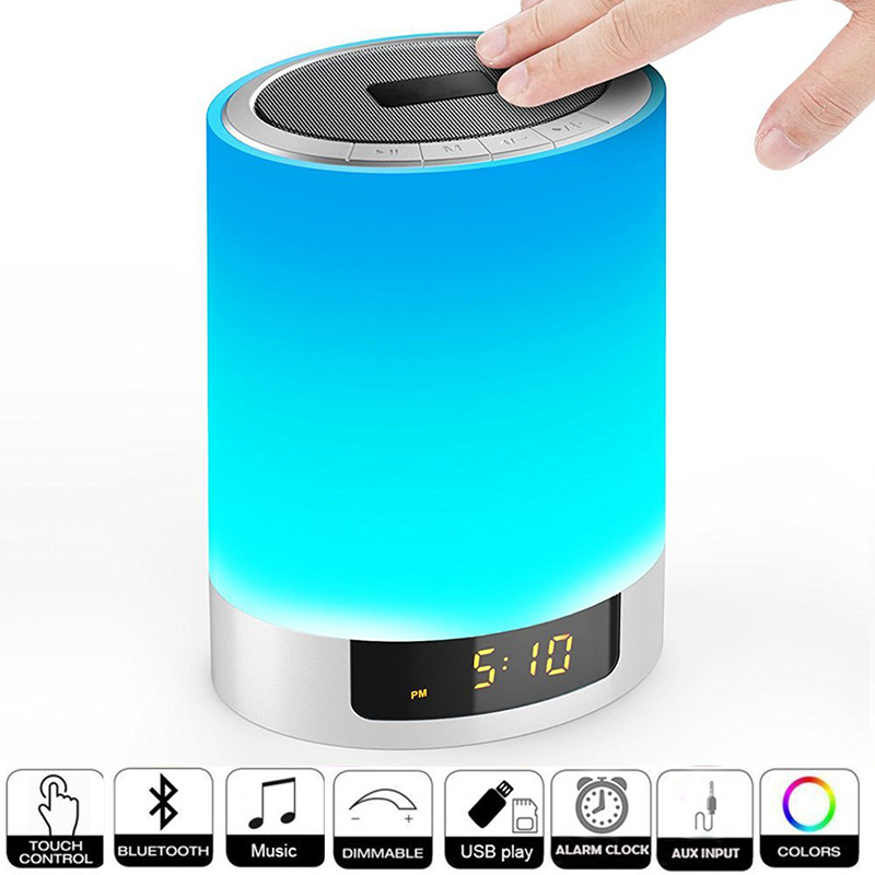 Night Lights Wireless Bluetooth Speaker with Alarm Clock,Ruoi Touch Sensor LED Bedside Lamp+Dimmable Warm Light & Color Changing night light and alarm clock