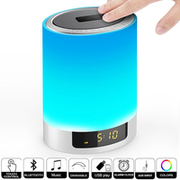 Night Lights Wireless Bluetooth Speaker with Alarm Clock,Ruoi Touch Sensor LED Bedside Lamp+Dimmable Warm Light & Color Changing
