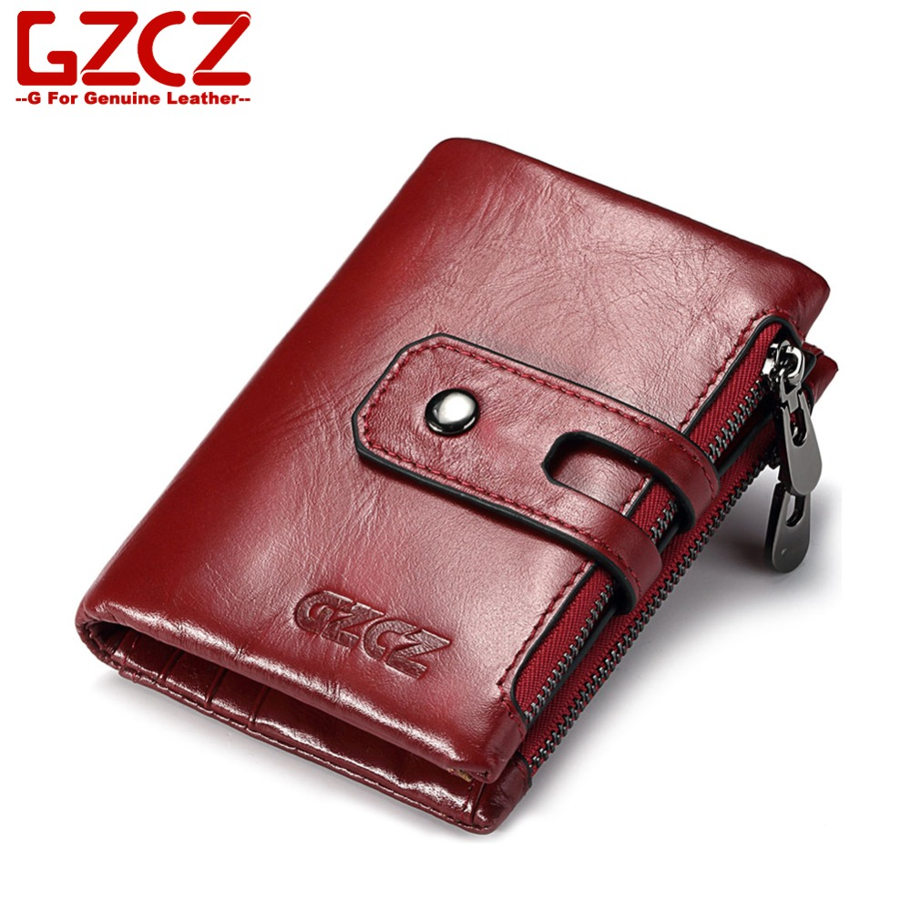 GZCZ Women Wallet Female Purse Genuine Real Leather