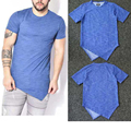 Kanye West Irregular T Shirt Men Blue Extended Tyga T-Shirt Solid Cotton Hip Hop Clothing