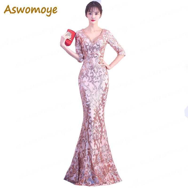 db31f8f076 Aswomoye 2018 New Stylish Elegant Long Evening Dress Sexy V Neck ...