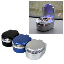Portable Car Mini LED Lamp Luminous Ashtray Automobile Creative Auto Home Smokeless Cigarette Cylinder QP163