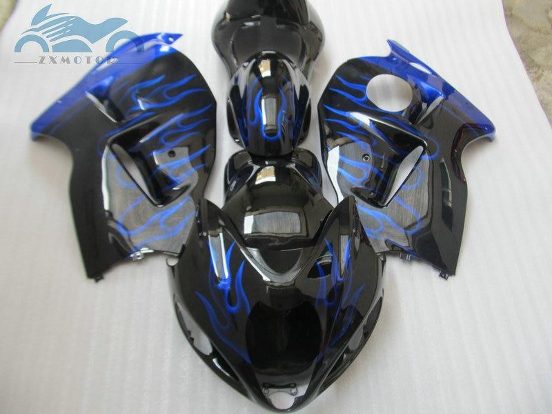 ABS Carénage kits pour SUZUKI GSX R1300 1996-2007 moto carénages kit GSXR1300 1996 2005 2007 flammes bleues pièces + couvercle du réservoir