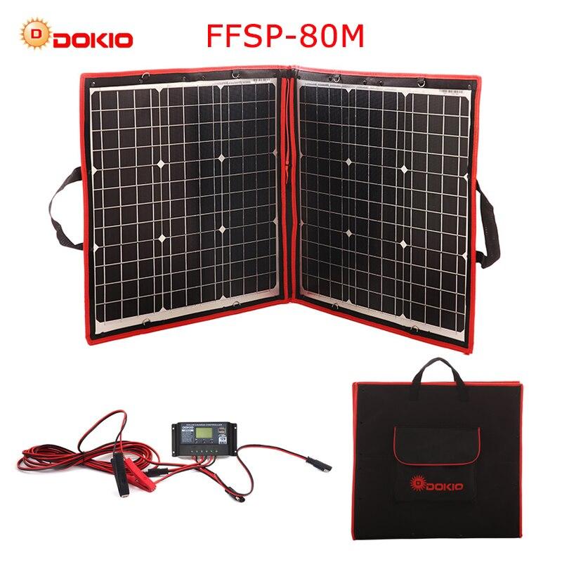 Dokio 50 w 60 w 70 w 80 w (40x2 pcs) 18 v Flexible Noir Solaire Panneaux Chine Pliable + 12/24 v Volt Contrôleur Watt Panneaux Solaire