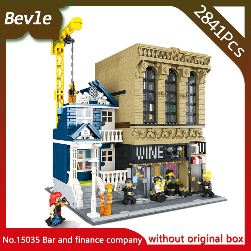 LEPIN 15035 2841Pcs Street View Series Bar and finance company Model Building Blocks set Bricks Toys For Childrens international macroeconomics and finance theory and econometric methods