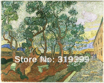 Linen Canvas Oil Painting reproduction,Garden of Saint Paul Hospita by Vincent Van Gogh ,100% handmade,Free DHL Shipping
