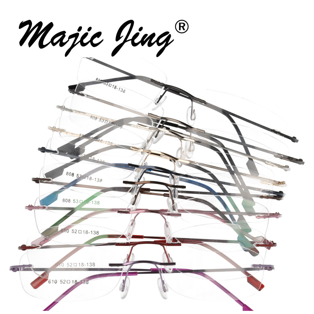 Magic Jing rimless memory metal hinged optical frames eyeglasses spectacles 50 pieces lot 808