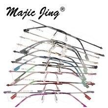 Magic Jing rimless memory metal hinged optical frames eyeglasses spectacles 50 pieces /lot 808