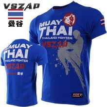 VSZAP Thailand BANGKOK Muay Thai Fitness Sanda Fighting Men T-Shirt High Quality Elastic UFC Fight MMA Sporting Bodybuilding