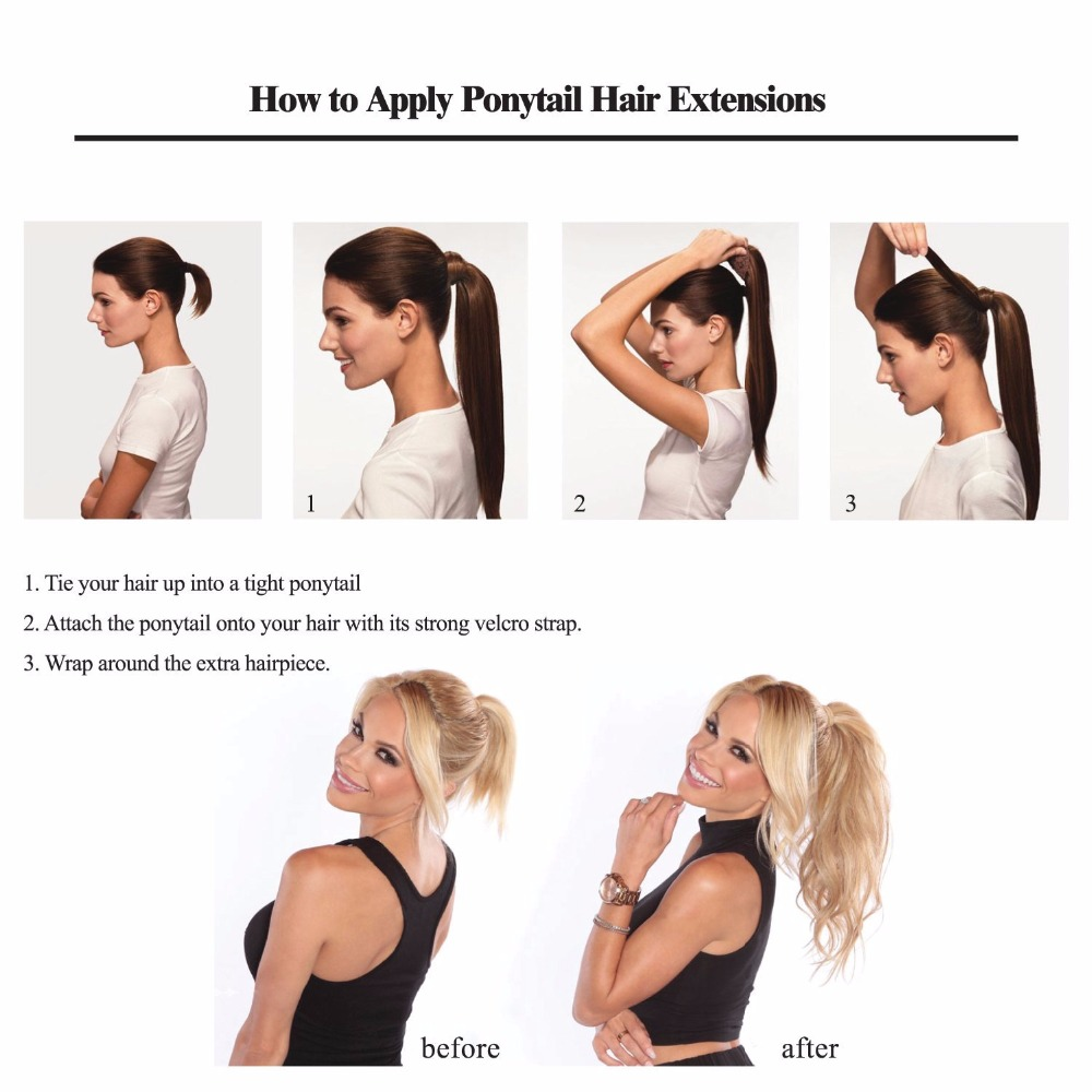 Ali-beauty Human Hair Ponytail European Straight Hair Extensions 120gram Wrap Around Clip In Pony Tail Remy Hair 12-26 Inches Hair Extensions & Wigs