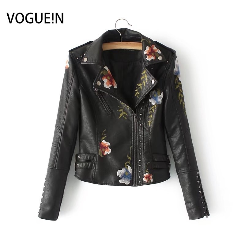 VOGUEIN New Womens Floral Embroidery Faux   Leather   Jackets Bomber Motorcycle Coat Rivet 3 Colors Wholesale