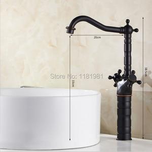 Image 5 - 新スタイルのレトロなホットとコールド蛇口黒くキッチンスイベル真鍮デザイナー蛇口シンク洗面器ミキサータップ B3214
