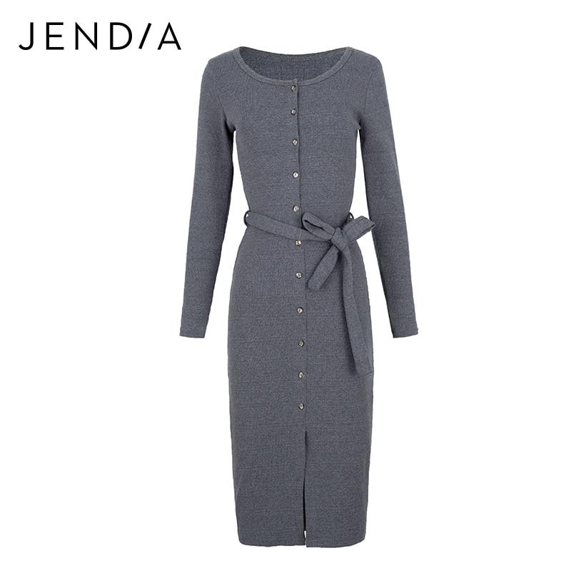 JENDIA Office Dress Women Gray Long Sleeve Sheath Dresses Spring Autumn Casual Knitted Split Dress With Belt Vestidos Longo 14 grey deer mongolian dagger with sheath