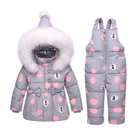 BibiCola baby girl winter jacket 2018 new white duck down children warm clothing set + overalls fur hooded baby boy clothes suit